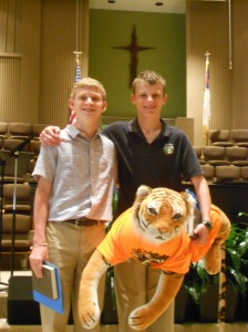 Seth (r) with his friend and only classmate, John